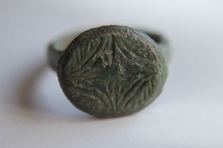 Ancient Roman Bronze Finger Ring 2/3rd Century Ad photo