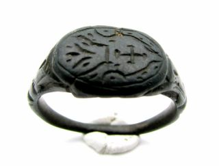 Crusaders/medieval Bronze Heraldic Seal Ring - Ancient Wearable Very Rare - F113 photo