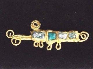 Roman Glass Fragments 200 B.  C Gold P.  Brooch Roman Ancient Jewelry photo