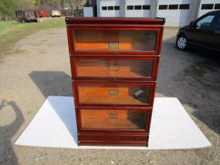 Antique Globe Wernicke C - 1910 4 Section All Mahogany Barrister Bookcase photo