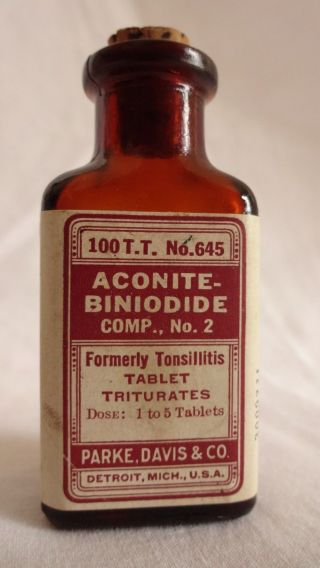 Antique Parke Davis Apothecary Medicine Aconite Tonsillitis Cork Top Bottle photo