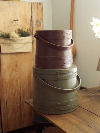 Primitive Painted Green Large Old Firkin Sugar Bucket - photo