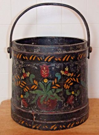 Antique Primitive Wood Bucket,  Black Floral Painted Folk Art Firkin Sugar Bucket photo