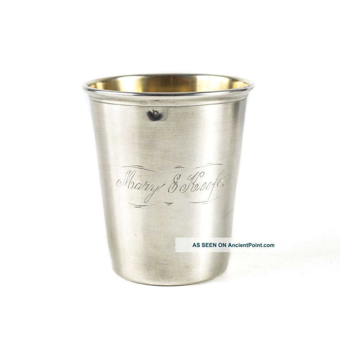 Gorham Sterling Silver Child ' S Cup A5270,  C1900.  Gilt Interior & Inscribed Cups & Goblets photo