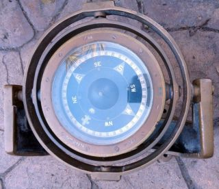 Royal Navy Pattern 195ta Brass Ship ' S Compass W/ Bracket photo