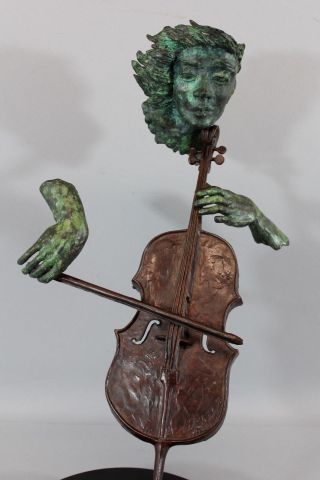 Vintage Paul Fairley Cello Player Musical Instrument Abstract Bronze Sculpture photo