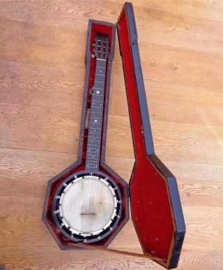 Antique W.  E.  Temlett Apollo No 3 - 7 String Tenor Zither Banjo Rosewood Resonator photo