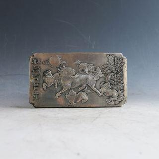 "Tibetan Silver Handwork Carved ""麒麟闹芭蕉"" Brand Gd2152 photo"