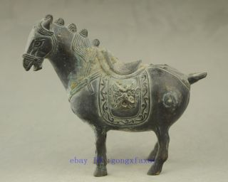 China Antique Hand Engraving Bronze Horse Statue Collectible Qq13 photo