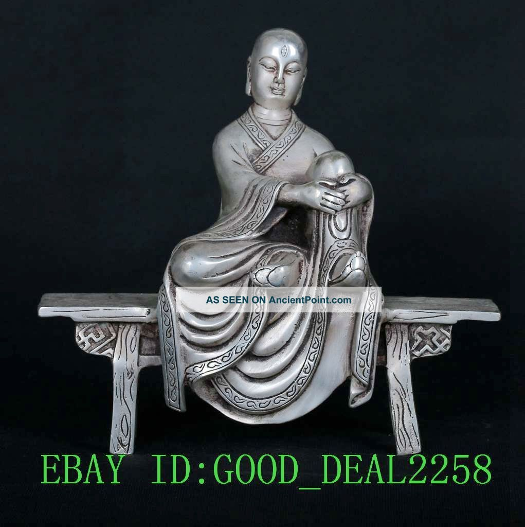 Tibet Tibetan Silver Copper Hand - Carved Benches Buddha Statue Sy688 Buddha photo