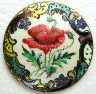 Antique Enamel Button Detailed Hand Painted Flower W/ Champleve Border 1 & 3/16