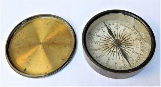 Nores Victorian Georgian Brass Pocket Marching Surveying Compass Vintage Antique photo