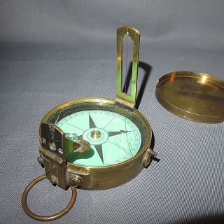 A 19th Century Victorian Circular Brass Compass With Vernier photo