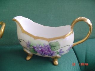 Antique Vintage Porcelain Limoges France Sugar And Creamer Purple Pansies photo