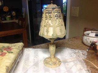 Antique 1920 - 1930s Ornate Cast Metal Enamel Painted Flowers Boudoir Table Lamp photo