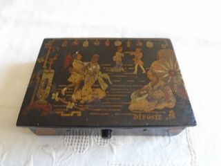 Vintage Small French Hand Painted Wooden Candy Or Jewerly Box photo