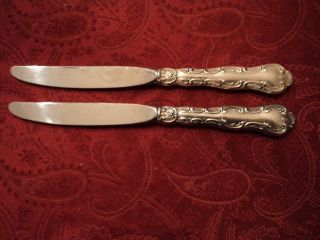 2 - Gorham Strasbourg Sterling Hollow Handle Dinner Knives 9 1/4