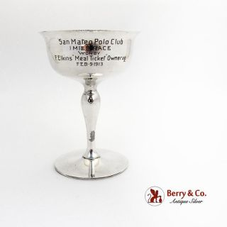 San Mateo Polo Club Trophy Cup Gilt Interior Shreve Treat Eacret Sterling Silver photo