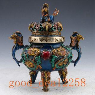 Rare Cloisonne Handwork Dragon Incense Burner & Foo Dog Lid W Xuande Mark Gd9529 photo