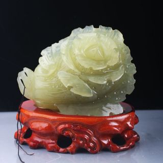 100 Natural Xiu Jade Hand - Carved Chinese Cabbage Statue Rm0308 photo