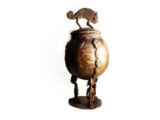 Rare African Tribal Antique Akan Ashanti Cast Bronze Medicine Pot Container 2 photo