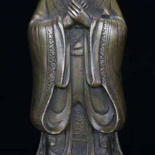Chinese Antique Brass Hand Carved Confucius Statue Gd3683 photo