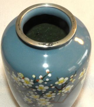 19th Century Japanese Silver Wire Cloisonne Enamel Cherry Blossom Floral Vase photo