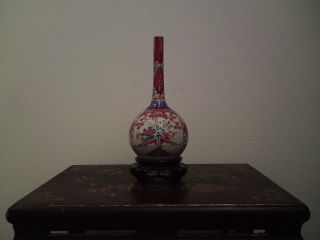 19th Century Japanese Meiji Imari Porcelain Long Neck Bottle Vase Perfect photo