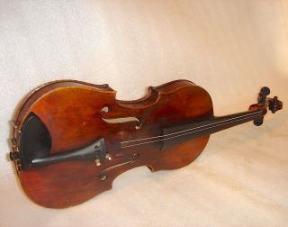 1880 Lovely Antique Old Handmade German Violin Authentic Cover,  Bow photo