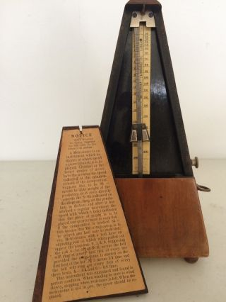Antique Wooden Metronome De Maelzel Paris Paquet W/ Bell & Key,  Old Vintage Rare photo