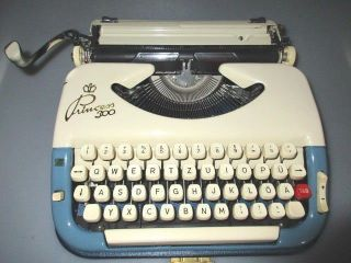 German Keller & Knappich Princess 300 Travel Typewriter With Blue / Ivory Color photo