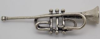 Vintage Solid Silver Handmade Trumpet Miniature - Stamped - Made In Italy photo