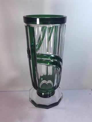 Marked Val St Lambert C1930 Art Deco Green Cased Crystal Cut Glass 9