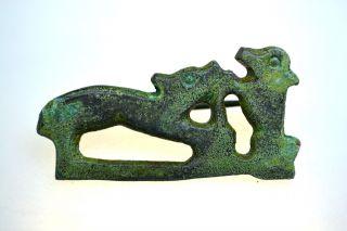 Roman Bronze Zoomorphic Brooch Fibula Scene photo