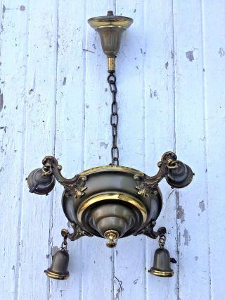 Vtg Antique Two - Tone Brass Victorian Art Deco 4 Arm Pan Chandelier Light Fixture photo