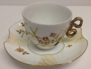 Limoges Demi Cup And Saucer,  Red,  Gold Embossed Deco,  Unique Cup Handle photo