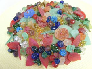 Antique Vintage Czech Colorful Art Glass Beaded Fruit & Flower Lamp Shade 9