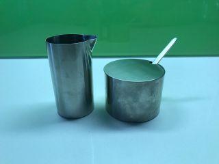 Stelton Cylinda Jacobsen Stainless Steel Sugar & Cream photo