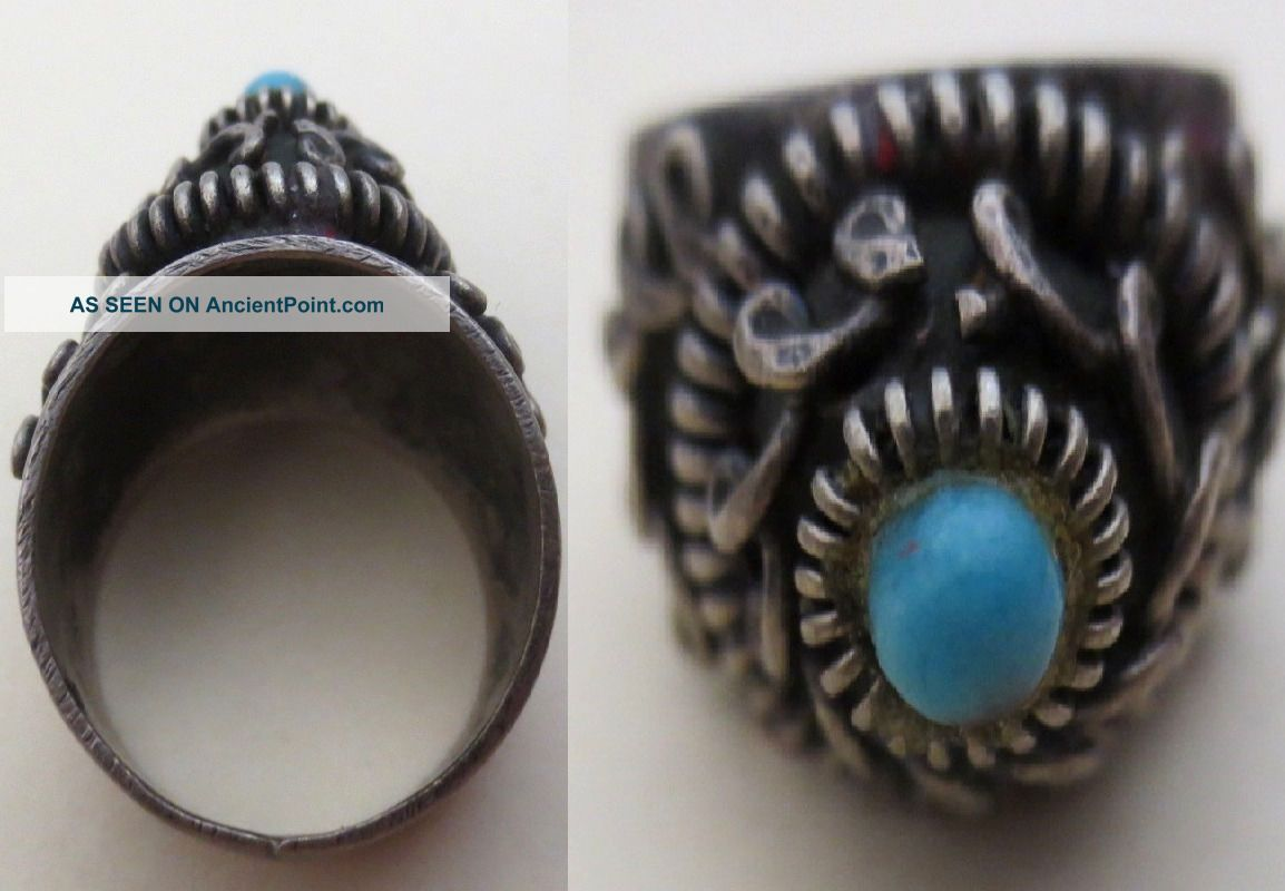 1904 Antique Hand Made Jewelry - Silver Ring W/ Blue Stone - Armenian Inscription Other Antique Non-U.S. Silver photo