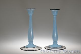 1920 ' S No.  1042 W/no.  314 Lattice Deco Candlesticks By Westmoreland Blue Cased photo