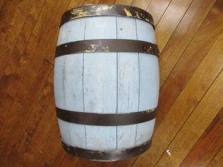 Antique Wood Keg Small 4 Band Barrel 12 1/2t 10 1/2dia Robbin Egg Blue Paint (t) photo