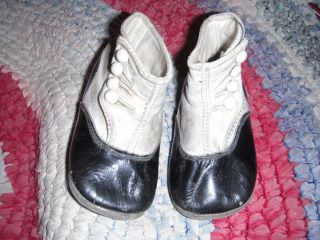 Antique Early Aafa Child Doll Black & White Leather Side Button Shoes Boots Vtg photo