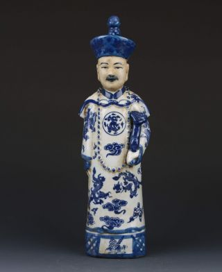 Chinese Blue And White Handwork Character Statue G269 photo