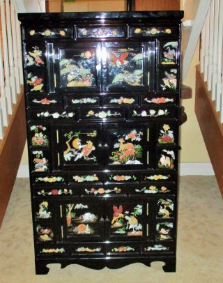 Chinese Jade Stone Carving Apothecary Cabinet Jewelry Box Chest Black  Lacquer Vg Photo