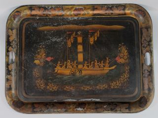 Antique 19thc Early Paddle Wheel Steamship Tin Folk Art Toleware Tray Painting photo