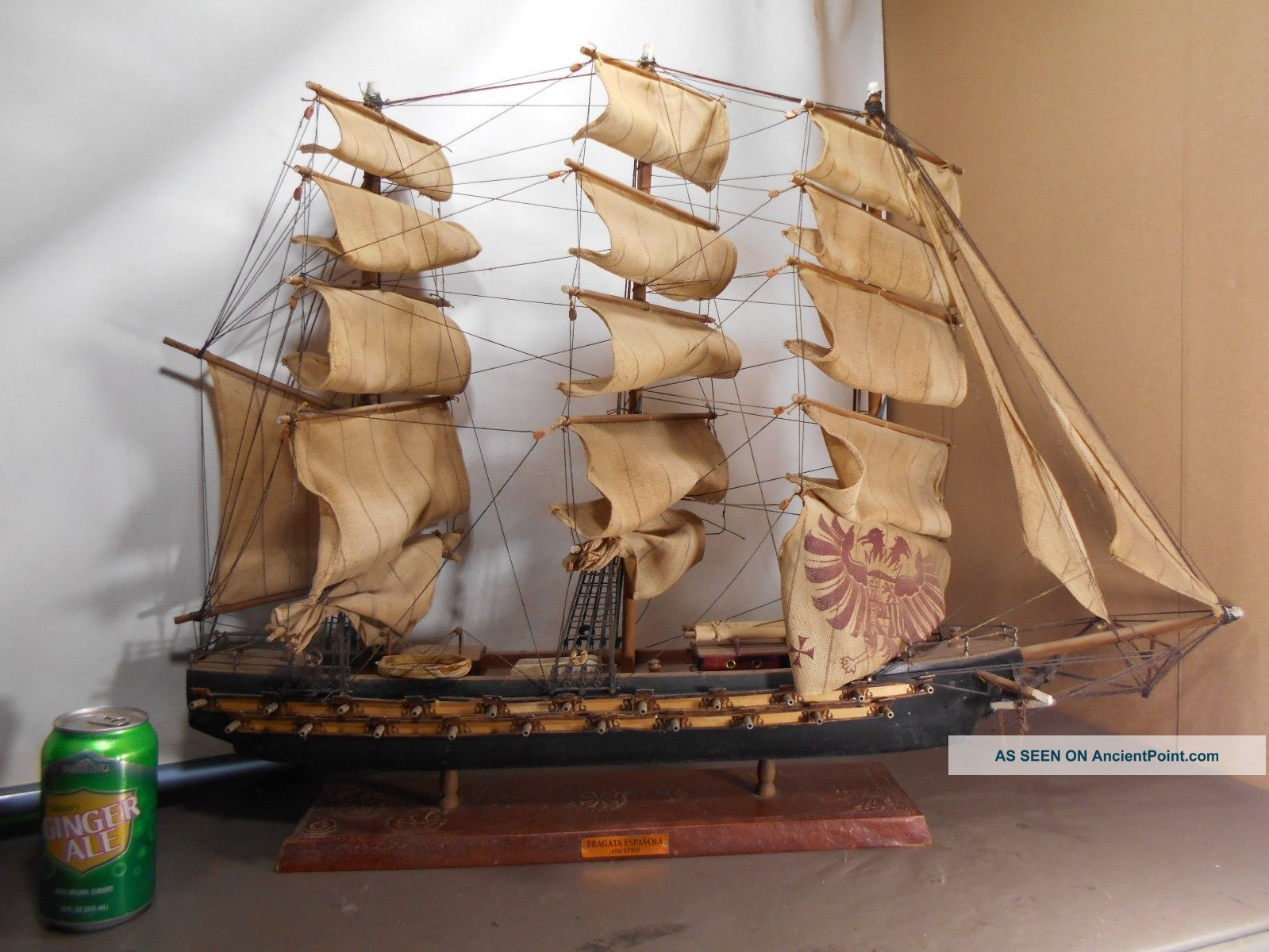 Vintage Nautical Sailing Ship Wood With Cloth Sails,  Fragata Espanol Ano 1780 Model Ships photo