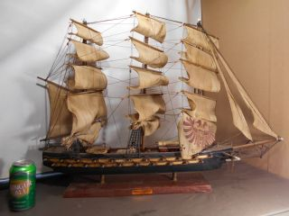Vintage Nautical Sailing Ship Wood With Cloth Sails,  Fragata Espanol Ano 1780 photo