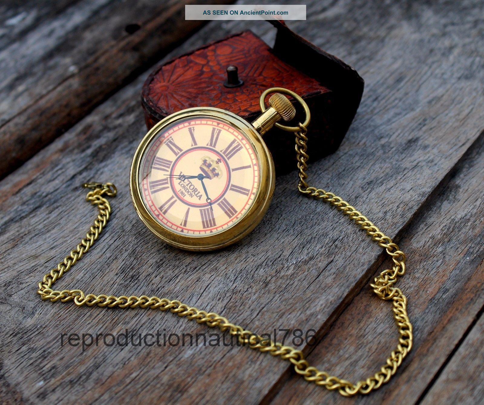 Solid Brass Marine Watch Collectible Vintage Fashion Pocket Watch Case Clocks photo