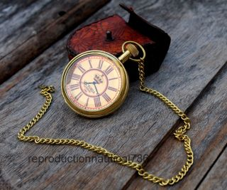 Solid Brass Marine Watch Collectible Vintage Fashion Pocket Watch Case photo