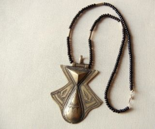 Vintage African Tuareg Tribal Necklace With Etched Silver Amulet Pendant photo